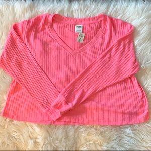 NWT PINK Oversized Crop Long Sleeve Shirt